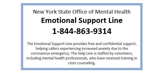 NYS Free Emotional Support Line